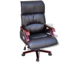 Vidaxl luxe lederen bureaustoel met massagefuncties zwart