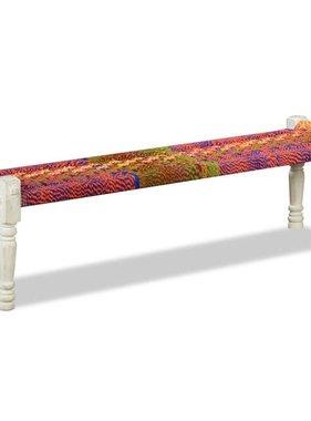 vidaXL Halbankje massief acaciahout met chindi stof meerkleurig
