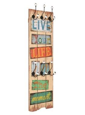 vidaXL Muurkapstok met 6 haken LIVE LIFE 120x40 cm