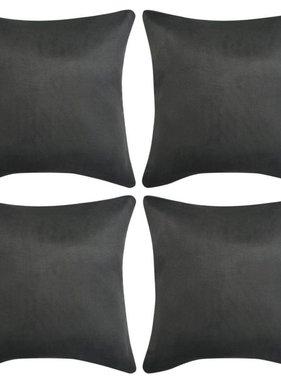 vidaXL Kussenhoezen 4 stuks antraciet 50 x 50 cm imitatiesuède polyester