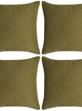 vidaXL Kussenhoezen 4 stuks linnen look groen 50x50 cm