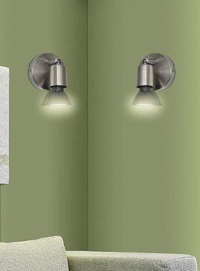 vidaXL LED wandlamp satijn nikkel (2 stuks)