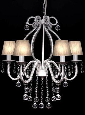 vidaXL Kroonluchter Maria Theresa 6-armig met lampenkapjes wit