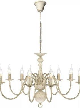vidaXL Kroonluchter wit metaal 8 x E14 lampen