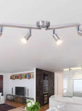 vidaXL plafondlamp met 4 led-spotlights satijn nikkel
