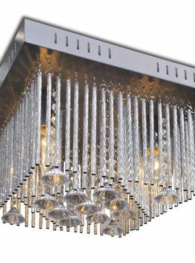 vidaXL Plafondlamp met kristallen decoraties en aluminium strips