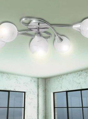 vidaXL Plafondlamp met glazen behuizing voor lampen
