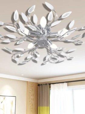 vidaXL Lamp met kristallen bladeren van acryl voor 5x E14 (Wit)