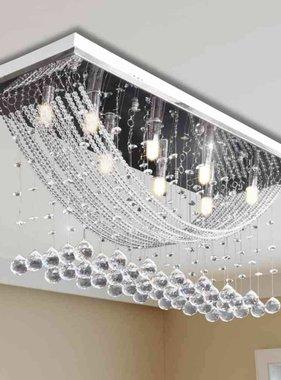 vidaXL Plafondlamp met glinsterende glas kristallen kralen 8xG9 29 cm