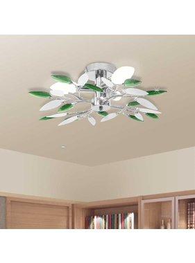 vidaXL Plafondlamp witte en groene acryl kristal bladeren 3xE14