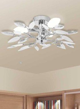 vidaXL Plafondlamp witte en transparante acryl kristal bladeren 3xE14