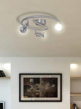vidaXL Plafondlamp met 3 halogeenspots nikkel