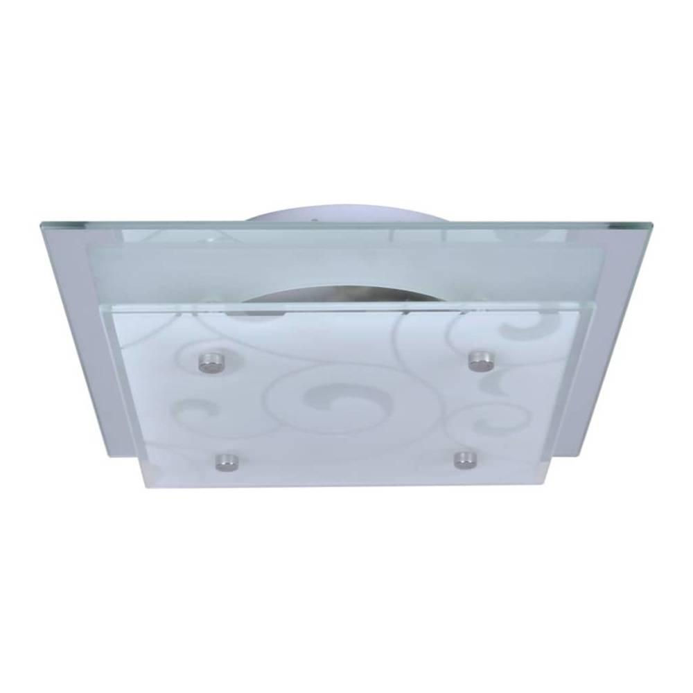 vidaXL Plafondlamp vierkant glas 1xE27 patroon