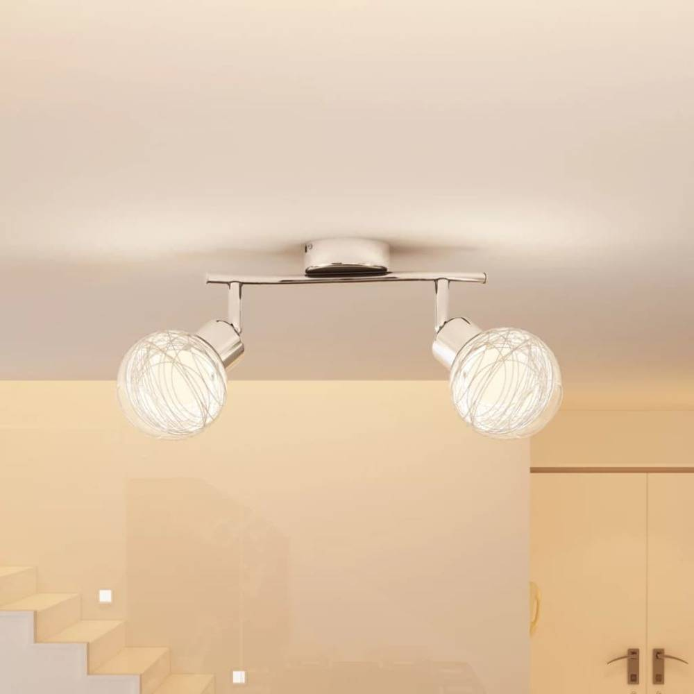 vidaXL Plafondlamp 2 ronde glazen kappen incl. lampen