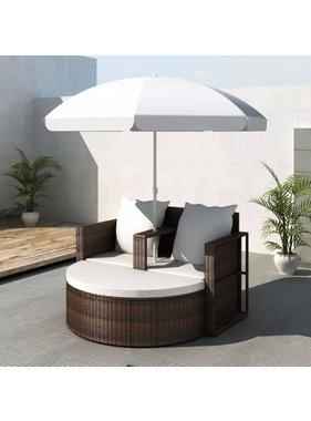 vidaXL Poly Rattan Loungebed set met parasol (bruin)