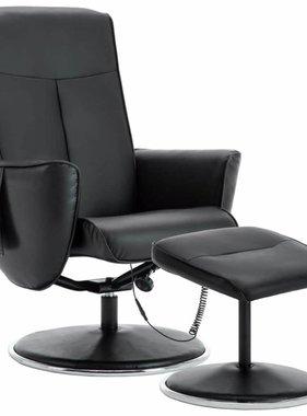 vidaXL Massagefauteuil met voetenbankje verstelbaar kunstleer zwart