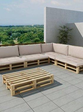 vidaXL Loungeset met 9 kussens en 15 pallets hout zandwit