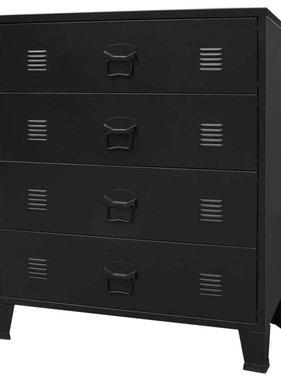 vidaXL Ladekast industriële stijl 78x40x93 cm metaal zwart