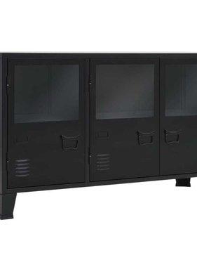 vidaXL Dressoir industriële stijl 130x35x70 cm metaal zwart