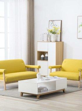 vidaXL Bankstel voor 5 personen stof geel 2-delig