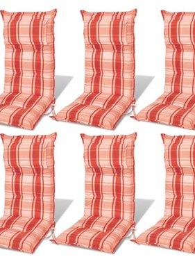 vidaXL Tuinstoel kussen rood/oranje 8 cm dik (6 stuks)