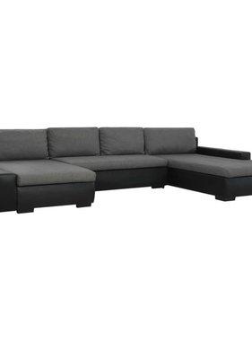 vidaXL Slaapbank modulair kunstleer zwart en donkergrijs