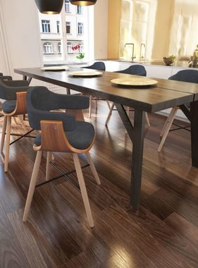 vidaXL Eetkamerstoel gebogen hout met stoffen bekleding 6 st