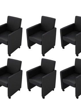 vidaXL Eetkamerstoelen met wieltjes kunstleer zwart 6 st