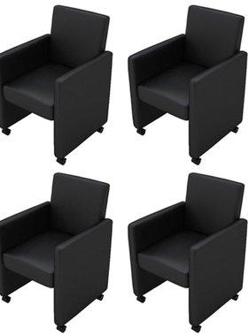 vidaXL Eetkamerstoelen met wieltjes kunstleer zwart 4 st