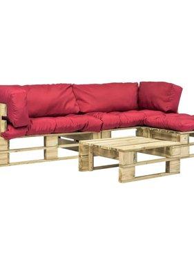 vidaXL 4-delige Loungeset pallet met rode kussens FSC hout