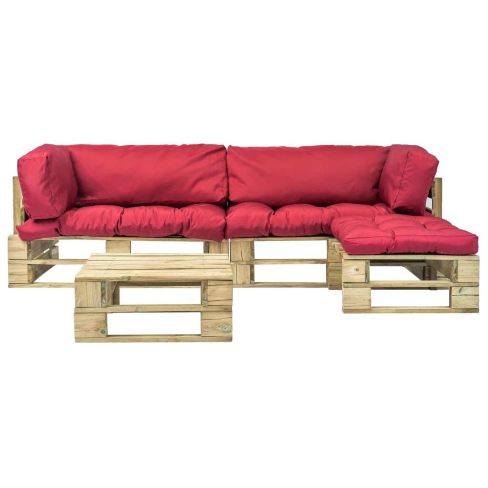 vidaXL Pallet tuinbankenset met rode kussens 4-delig FSC hout groen
