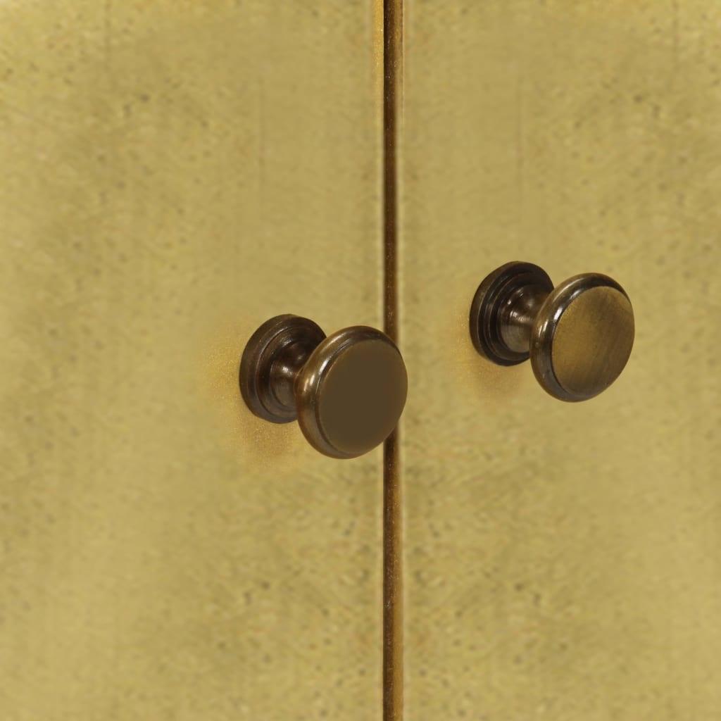 vidaXL Dressoir 90x30x77 cm massief sheeshamhout met gouden print