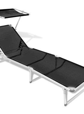 vidaXL Ligbed inklapbaar met dak aluminium en textileen zwart