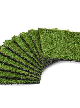 vidaXL Kunstgrastegels 30x30 cm groen 10 st