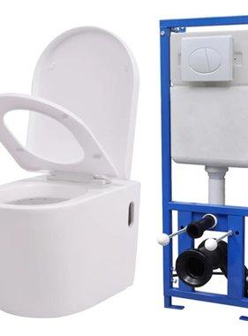 vidaXL Hangend toilet met verborgen stortbak keramisch wit