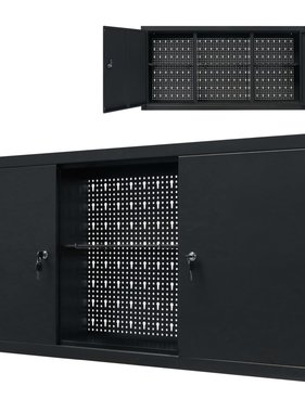 vidaXL Gereedschapskast voor aan de wand 120x19x60 cm metaal zwart