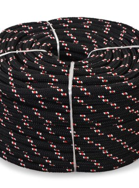 vidaXL Boot touw 12 mm 50 m polypropyleen zwart