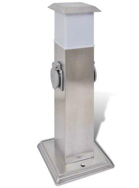 vidaXL Buitenstopcontact op zuil met lamp (roestvrij staal)