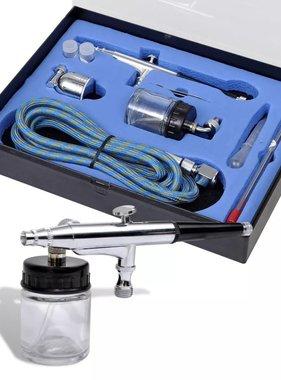 vidaXL Airbrush set met glazen beker 0,2 / 0,3 / 0,5 mm mondstukken