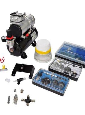 vidaXL Airbrush Compressorset met 3 pistolen