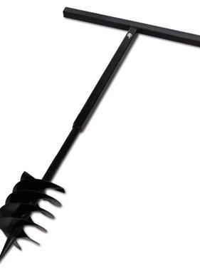 vidaXL Grondboor met handvat en schroefkop 180 mm (zwart)