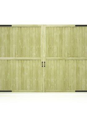 vidaXL Poorten 2 st 300x195 cm FSC geïmpregneerd grenenhout