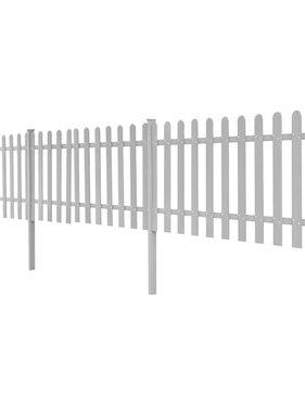 vidaXL Hek met palen HKC 6 m lang 60 cm hoog grijs 3 st