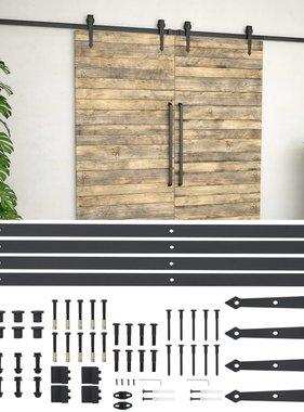 vidaXL Onderdelenset voor schuifdeur 2x183 cm staal zwart