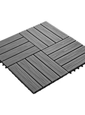 vidaXL Terrastegels diep reliëf 30x30 cm 1 m² HKC grijs 11 st