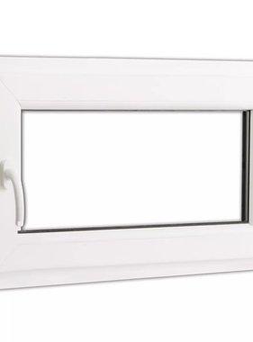 vidaXL Draaikiepraam van PVC met dubbel glas en handvat links  800 x 500 mm