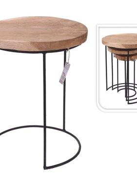 Home&Styling Home&Styling 3-delige Bijzettafelset teakhout en metaal