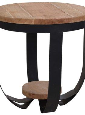 Home&Styling Home&Styling Bijzettafel 48,5x51 cm teakhout en metaal