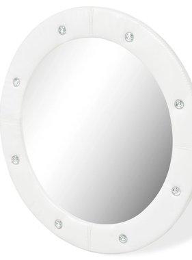 vidaXL Wandspiegel 60 cm kunstleer glanzend wit