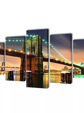 vidaXL Canvasdoeken Brooklyn Bridge 100 x 50 cm